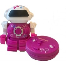 RC robot Mini Bot speelfiguur 10 cm roze in blik