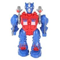 robot met licht en geluid 22 cm blauw/rood