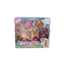 pop met fiets meisjes 10 cm roze 3-delig