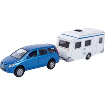 auto Mitsubishi en caravan 2-delig blauw/wit 27 cm