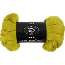 wol Merino 21 micron lemon-groen 100 gram per bol