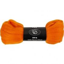 wol Merino 21 micron oranje 100 gram per bol
