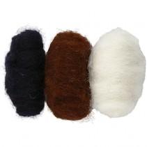 gekaarde wol wit/ zwart 10 gram 3 stuks