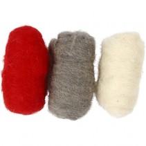 gekaarde wol rood/ bruin 10 gram 3 stuks