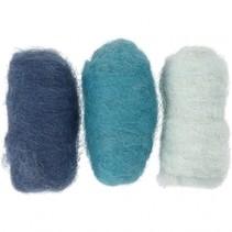 gekaarde wol blauw 10 gram 3 stuks