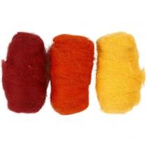 gekaarde wol rood/ geel 10 gram 3 stuks