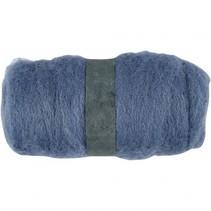 gekaarde wol blauw 100 gr