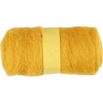 gekaarde wol geel 100 gr