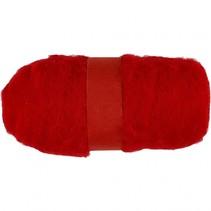 gekaarde wol rood 100 gr