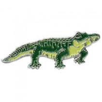 pin-broche krokodil junior 3 cm staal/emaille zilver/groen
