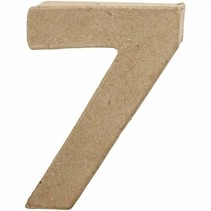 cijfer 7 papier-mâché 10 cm