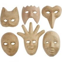 maskers papier-maché 6 stuks