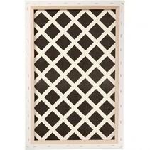 canvas geruit patroon 40 x 60 x 1,7 cm wit