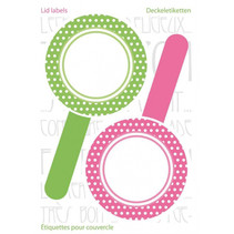 keukenetiketten New Look 5,5 cm wit/roze/groen 6 stuks