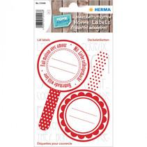 keukenetiketten New Look 5,5 cm wit/rood 6 stuks
