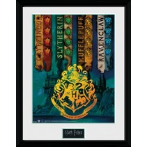 poster in lijst Harry Potter House Flags 30 x 40 cm