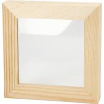 houten fotolijst 3D dubbel glas 12,3 x 12,3 cm