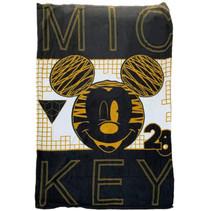 fleecedeken Mickey junior 150 cm fleece zwart/goud
