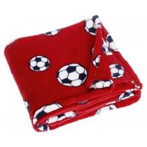 fleecedeken voetbal 75 x 100 cm rood