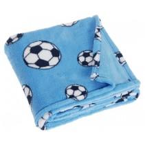 fleecedeken voetbal 75 x 100 cm blauw