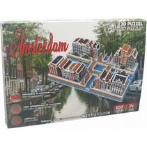 puzzel Amsterdam 35,2 cm karton bruin 107 stukjes