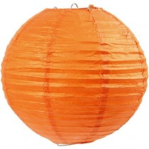 lampion rijstpapier 20 cm oranje per stuk