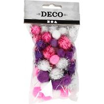 pompoms 15/20 mm pluche wit/paars/roze 48 stuks