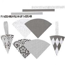 bouwset gevlochten kegels grijs/wit 8 stuks
