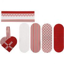 bouwset gevlochten harten rood/wit 8 stuks