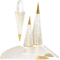kegels 18+28 cm goud/wit 3 stuks