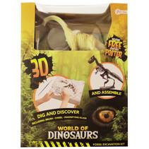 opgraafkit World of Dinosaurs brachiosaurus gips 5-delig