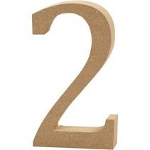 houten cijfer 2 8 cm