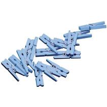 miniwasknijperset 2,5 cm hout blauw 20 stuks