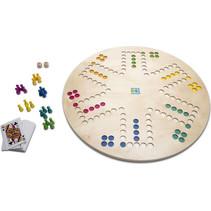bordspel 3-in-1 Keezen/Ganzenbord 45 cm hout 30-delig