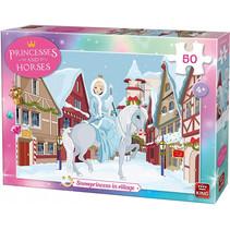 legpuzzel Snow Princess in Village meisjes 50 stukjes