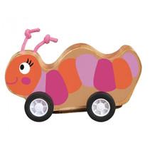 rups op wielen pull-back 7,5 x 7 cm hout oranje/roze