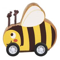 bij op wielen pull-back 7,5 x 7 cm hout geel/bruin