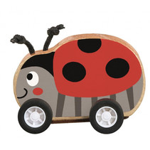 lieveheersbeestje op wielen pull-back 7,5 x 7 cm hout