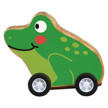 kikker op wielen pull-back 7,5 x 7 cm hout groen/bruin