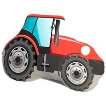 kussen tractorvorm 40 cm pluche rood