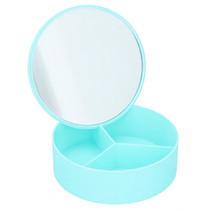 sieradenkistje met spiegel meisjes 14 cm blauw