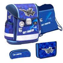 schoolspullenset Sky Fighter 19 liter polyester blauw