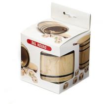 dobbelbeker met dobbelstenen 8,5 cm hout beige 6-delig