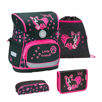 schoolset puppy 37 cm polyester zwart/roze 4-delig