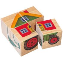 blokkenpuzzel Boerderij junior 10 x 10 cm hout 4-delig