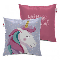 kussen Unicorn meisjes 40 x 40 cm polyester roze/blauw