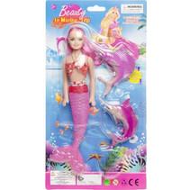pop zeemeermin meisjes roze 3-delig