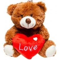 knuffelbeer met hart 24 cm bruin