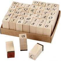 stempelset alfabet 13 x 13 x 32 mm 42-delig