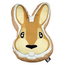 sierkussen Rabbit junior 40 x 40 cm textiel oranje/bruin
